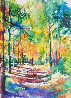 Golden Autumn Art Print by Patricia Allingham Carlson Watercolor Mixing, Watercolor Canvas, Watercolor Trees, Watercolor Landscape, Landscape Paintings, Watercolor Paintings, Watercolours, Acrylic Paintings, Rainbow Art