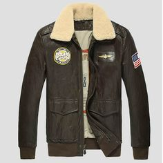 Chocolate Brown Leather Fur US Air Force Style Bomber Jackets Men SKU-116155