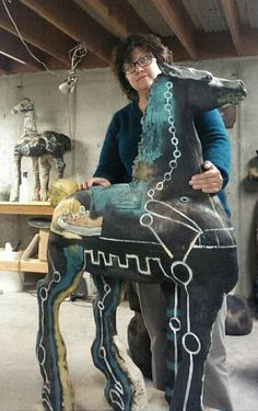 Ceramic horse sculptures by Marni Gable