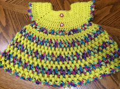 Handmade Crochet Sleeveless Girls' Dress 3 to 6 months Yellow/Multi #Handmade #DressyEverydayHoliday