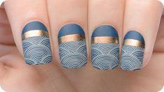 10 Blue Eyeshadow Looks You Should Totally Own This Party Season MoYou London Snap Suki Sea # uñas Nagel Stamping, Moyou Stamping, Stamping Nail Art, Uñas Art Deco, Art Deco Nails, Trendy Nail Art, Cool Nail Art, Fancy Nails, Cute Nails