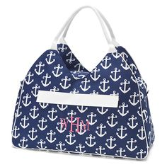 Navy Anchor Beach Bag