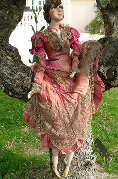 Antique French Boudoir Doll Paris 1920 Silk 39 inches Tall RARE | eBay