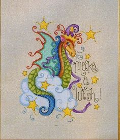 """Colorful and cute magical dragon """"make a wish!"""", full free cross stitch pattern - Cover"""