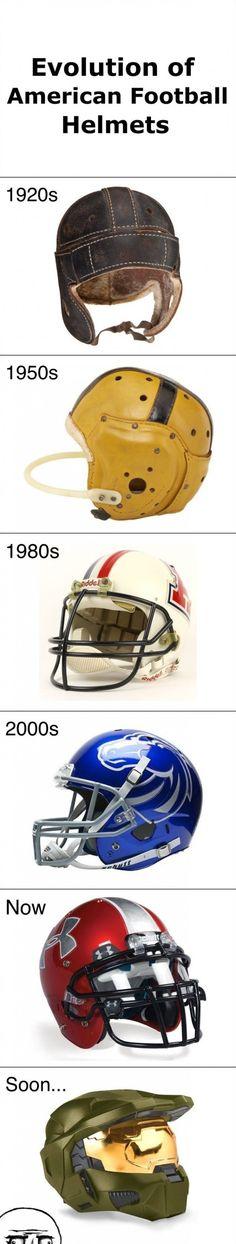 Evolution of football helmets - www.meme-lol.com