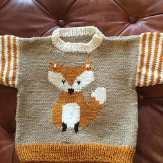 Ravelry: Fox Pullover pattern by Gail Pfeifle, Roo Designs Baby Boy Knitting Patterns, Baby Cardigan Knitting Pattern, Knitting For Kids, Knitting Projects, Knit World, Pull Bebe, Outfits Niños, Wedding Dresses For Girls, Fair Isle Knitting