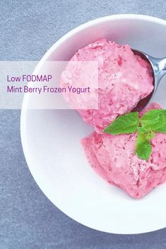 Looking for a fun summer treat? Try this Low FODMAP Mint Berry Frozen Yogurt! It makes a great kid-friendly dessert or just a tasty treat! #IBS #lactosefree #fodmap #lowfodmap #fodmapformula www.fodmapformula.com