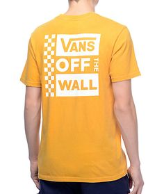 Vans Box Logo Mustard   White Pigment T-Shirt 9048705aaea