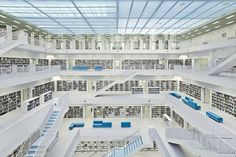 Bright white library in Stuttgart, Germany. Leave it to the Germans to be that precise