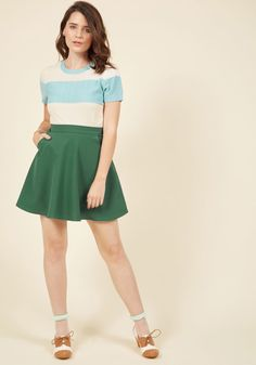 8074e6cb7b19 Whimsical Ambitions Skater Skirt in Pine in M