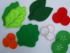 Machine Embroidery designs to make a felt salad.   Included in this set are seven designs.  Youll receive designs to make; two different lettuce