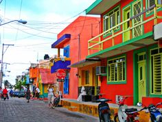 The colorful buildings in Isla Mujeres. Snorkeled off the coast here, too.