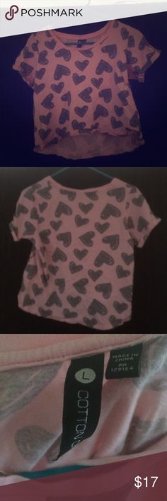 Pink and Grey Hearts Crop Top Pin and Grey Hearts Crop Top. Size Large, bought from Cotton On. Worn twice Cotton On Tops Crop Tops