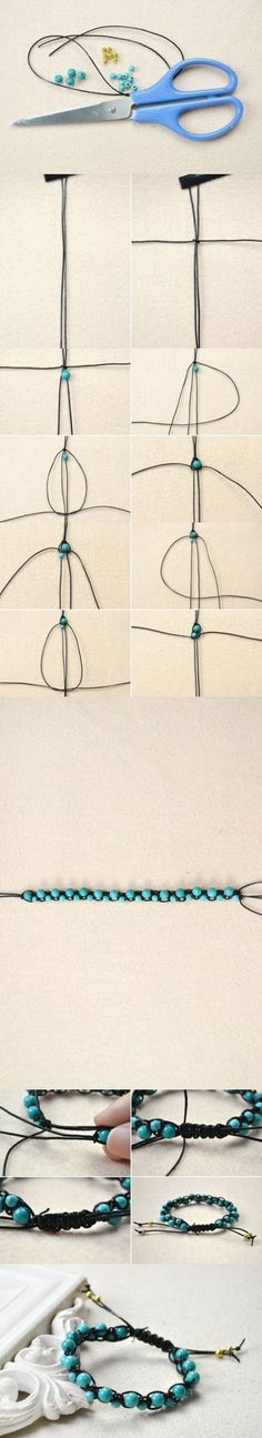 Tutorial on How to Make a Best Friend Bracelet Out of String and Turquoise Beads from LC.Pandahall.com #pandahall | Pinterest by Jersica