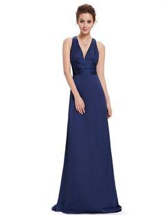 Fashion V Neck Crossed Back Straps Open Back Mermaid Sweep Train Bridesmaid Dress Prom Dress