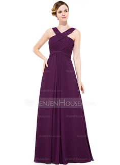 A-Line/Princess V-neck Floor-Length Chiffon Bridesmaid Dress With Ruffle (007051433)