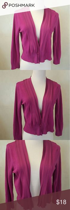 NY&COMPANY fuschia cardigan Ny & Company fuschia cardigan with 1 button, has polyester fabric detailing in perfect condition NY & Company  Sweaters Cardigans