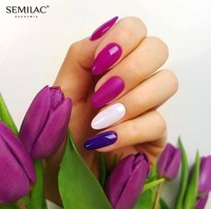 Semilac Magenta Mood, 147 Violet In The Dark, 001 Strong White & 681 Flash Aurora Dust, Top Mat Total, Top No Wipe 💕 Easter Nails, Manicure And Pedicure, Magenta, Nail Designs, Spring, Aurora, Mood, Dark, Nail Desings