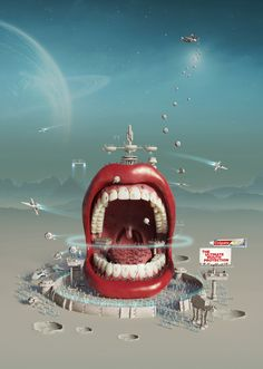 Colgate Total: Intergalactic Mouth The ultimate mouth protection. Advertising Agency: Y&R RedFuse, New York, USA Global Creative Director: Gloria de la Guardia Creative Director: Marco Walls Associate Creative Director: Hernan Ibañez Art Directors: Marco Walls, Hernan Ibañez Copywriter: Samuel Melgar Illustrator: Ricardo Salamanca Published: March 2014