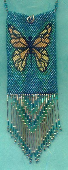 bugle fringe on amulet bag - Butterfly amulet purse by Kathi Lawson, $65 -
