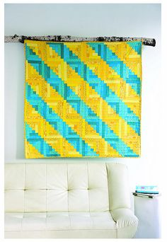 bright log cabin #quilt in yellow and aqua with furrow setting
