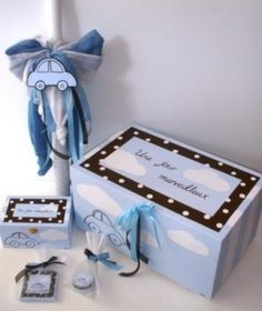 Car Themed Christening Set for a boy's baptism Baby Boy Christening, Christening Favors, Wine Bottle Centerpieces, Car Themes, Greek Wedding, Keepsake Boxes, Baby Gifts, Gift Wrapping, Handmade
