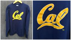 Vintage UC Berkeley Cal Bears Sweatshirt - Classic Navy Blue and Yellow Hanes Adult XL by ElkHugsVintage on Etsy