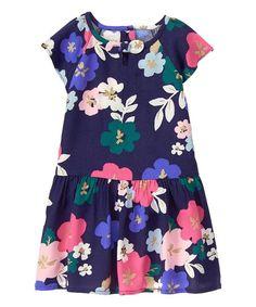 Gymboree Navy Floral Drop-Waist Dress - Infant, Toddler & Girls | zulily