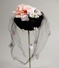 Woman's hat | Label: Bes-Ben | United States, 1936-1938 | Materials: velvet, silk, nylon net | Los Angeles County Museum of Art, LACMA