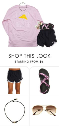 """""""this is literally me"""" by gourney ❤ liked on Polyvore featuring NIKE, Hanes, H&M, Majorica, women's clothing, women, female, woman, misses and juniors"""