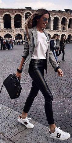 grey jacket leather pants sneakers