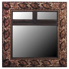 English Art Nouveau Wall Mirror Framed in Velvet | From a unique collection of antique and modern wall mirrors at http://www.1stdibs.com/furniture/mirrors/wall-mirrors/