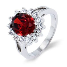 This stunning garnet and clear CZ ring will be a Valentine's Day gift she will never forget!
