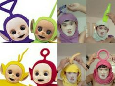 Like these perfect Teletubbies costumes. | This Teenager Does Some Of The Best Awful-Looking Cosplay You'll Ever See