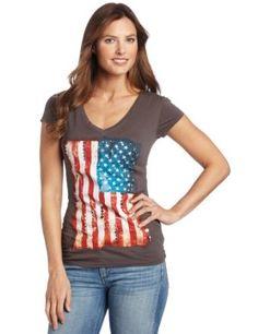 Awake Couture Women's American Flag Hand Beading V-Neck Tee $48.00