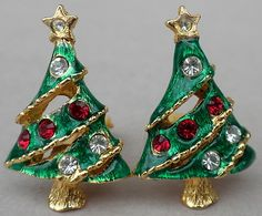 Earrings Clip On Christmas Trees with Red & Clear Rhinestones & Green Enamel