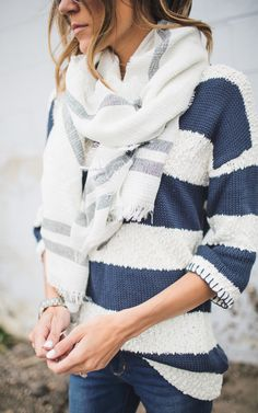 White Stripe Scarf by: ILY COUTURE - get this 15% off with code: MOM15