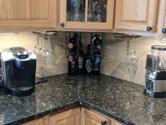 Kitchen After-wine rack, Cafe Brown granite, Leonia Sand backsplash. New Kitchen, Kitchen Ideas, Brown Granite Countertops, Hickory Kitchen Cabinets, Outdoor Grill Area, Kitchens, Kitchen Appliances, Backsplash, Wine Rack