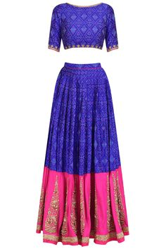 Tisha Saksena presents Blue and rani pink ikat print gold motifs lehenga set available only at Pernia's Pop Up Shop. Indian Wedding Outfits, Indian Outfits, Pakistani Outfits, Indian Clothes, Latest Designer Sarees, Designer Dresses, Half Saree Lehenga, Lehenga Blouse, Simple Lehenga