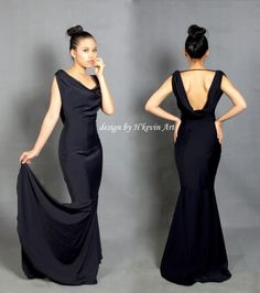 Fishtail Black Dress với thiết kế kết cấu ôm sát cơ thể, tôn số đo 3 vòng.