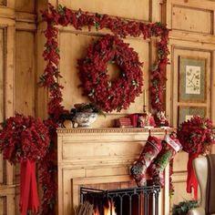 Christmas decor on mantle.