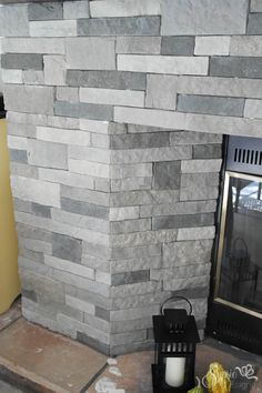 Diy Stone Fireplace With Airstone Airstone Dark Colors And Walls