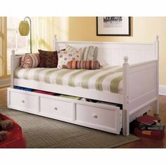 Fashion Bed Casey Wood Daybed in White-Daybed with Trundle, White White Daybed With Trundle, Full Size Trundle Bed, Daybed With Storage, Small Daybed, Couch Storage, Small Beds, Small Bedrooms, Ikea Hemnes Bed, Bed Ikea