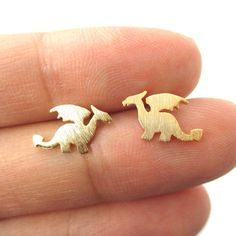 Min 1pc Small Dragon Silhouette with Wings Animal Shaped Stud Earrings in Gold  Handmade Animal Jewelry ED077 *** Want to know more, click on the image.