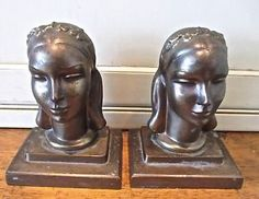 """Signed Frankart Art Deco Female Bust Bookends """"Maiden"""" c. 1930"""