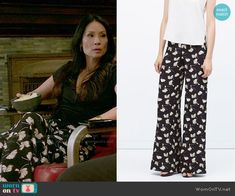 Joan's black printed pants on Elementary.  Outfit Details: http://wornontv.net/54306/ #Elementary