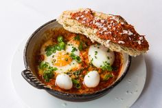 Eggs in purgatory is a popular Italian breakfast or brunch recipe of baked eggs in a fiery tomato sauce. Francesco Mazzei spices up his version with 'nduja sausage and serves with quail eggs and toasted sourdough. Egg Recipes, Brunch Recipes, Gourmet Recipes, Breakfast Recipes, Cooking Recipes, Cooking Ideas, Food Ideas, Healthy Recipes, Brunch Egg Dishes
