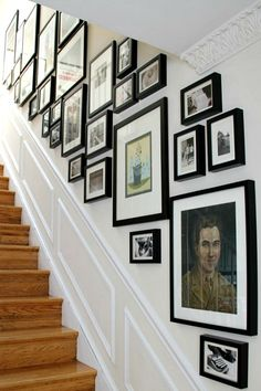 Gallery wall tied together by similar mat and frames - Kerra's Apartment In Dupont Circle, DC gallery wall layout Kerra's Apartment In Dupont Circle, DC Stairway Pictures, Stairway Gallery Wall, Stairway Walls, Staircase Wall Decor, Stairway Decorating, Gallery Wall Layout, Picture Wall Staircase, Picture Frames On The Wall Stairs, Gallery Walls