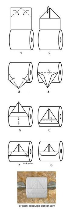boat toilet paper origami - this is just too funny :D Diy Origami, Toilet Paper Origami, Oragami, Origami Boat, Fun Crafts, Diy And Crafts, Arts And Crafts, Life Hacks, Paper Crafting