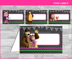 Masha and The Bear food labels Instant por partyirenelatimore